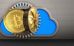 3d bitcoin over iron wall. 3d illustration of cloud with bitcoin over iron wall background Stock Photography