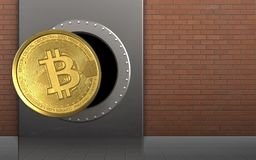 3d bitcoin over red bricks. 3d illustration of metal box with bitcoin over red bricks background Royalty Free Stock Photo