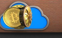 3d bitcoin over red bricks. 3d illustration of cloud with bitcoin over red bricks background Royalty Free Stock Photography