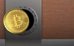 3d bitcoin over red bricks. 3d illustration of metal box with bitcoin over red bricks background Stock Photography