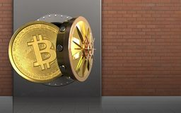 3d bitcoin over red bricks. 3d illustration of metal box with bitcoin over red bricks background Stock Photos