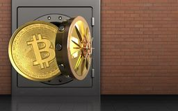 3d bitcoin over red bricks. 3d illustration of metal safe with bitcoin over red bricks background Royalty Free Stock Images