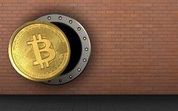 3d bitcoin over red bricks. 3d illustration of bitcoin storage over red bricks background Stock Image