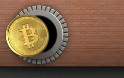 3d bitcoin over red bricks. 3d illustration of bitcoin storage over red bricks background Royalty Free Stock Image