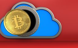 3d bitcoin over red. 3d illustration of cloud with bitcoin over red background Royalty Free Stock Photography