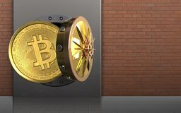 3d bitcoin over rode bakstenen Stock Foto's