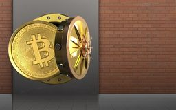 3d bitcoin over rode bakstenen Royalty-vrije Stock Foto