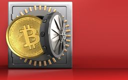 3d bitcoin over rood Royalty-vrije Stock Fotografie