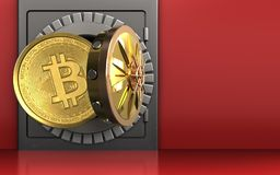3d bitcoin over rood Stock Fotografie