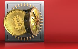 3d bitcoin over rood Royalty-vrije Stock Foto