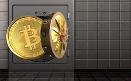 3d bitcoin over staalmuur Stock Fotografie