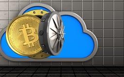 3d bitcoin over staalmuur vector illustratie