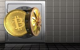 3d bitcoin over staalmuur Stock Foto's