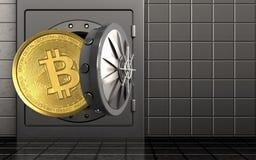 3d bitcoin over staalmuur stock illustratie