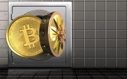 3d bitcoin over staalmuur Royalty-vrije Stock Afbeelding