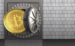 3d bitcoin over white stones. 3d illustration of metal safe with bitcoin over white stones background Royalty Free Stock Images
