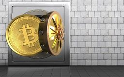 3d bitcoin over white stones. 3d illustration of metal safe with bitcoin over white stones background Stock Images