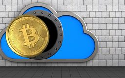 3d bitcoin over white stones. 3d illustration of cloud with bitcoin over white stones background Stock Photo