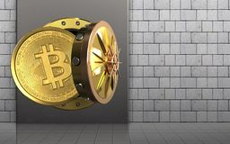 3d bitcoin over white stones Royalty Free Stock Photo