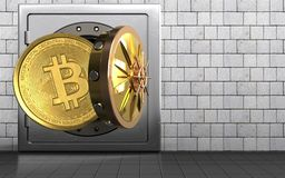 3d bitcoin over white stones. 3d illustration of metal safe with bitcoin over white stones background Royalty Free Stock Image