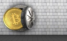 3d bitcoin over white stones. 3d illustration of bitcoin storage over white stones background Stock Photos