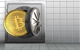 3d bitcoin over white wall. 3d illustration of metal safe with bitcoin over white wall background Stock Photos