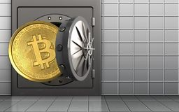 3d bitcoin over white wall Stock Image