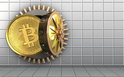 3d bitcoin over white wall Royalty Free Stock Image