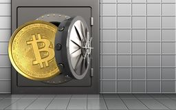 3d bitcoin over witte muur Stock Fotografie
