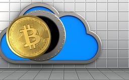 3d bitcoin over witte muur Stock Afbeeldingen