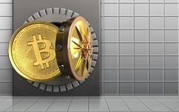 3d bitcoin over witte muur Stock Foto