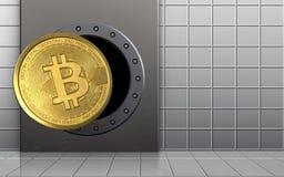 3d bitcoin over witte muur Stock Afbeelding