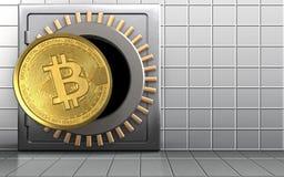 3d bitcoin over witte muur Royalty-vrije Stock Foto
