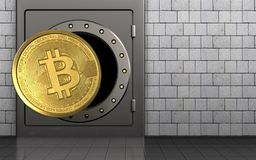3d bitcoin over witte stenen Stock Foto's