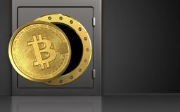 3d bitcoin over zwarte Stock Foto