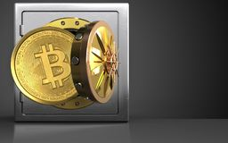 3d bitcoin over zwarte Royalty-vrije Stock Foto