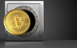 3d bitcoin over zwarte Royalty-vrije Stock Afbeeldingen