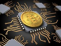3d bitcoin with processors Stock Photo