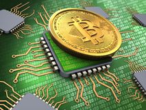 3d bitcoin with processors Royalty Free Stock Photo