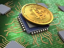 3d bitcoin with processors. 3d illustration of bitcoin over green background with processors Royalty Free Stock Images