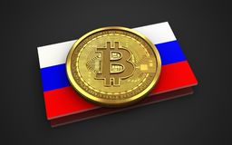 3d bitcoin Rosja flaga Obraz Royalty Free