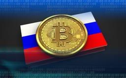 3d bitcoin Rosja flaga Fotografia Royalty Free