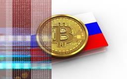 3d bitcoin Rosja flaga ilustracji