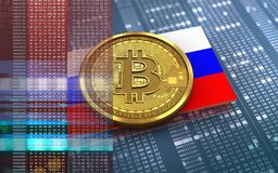 3d bitcoin Rosja flaga Fotografia Stock