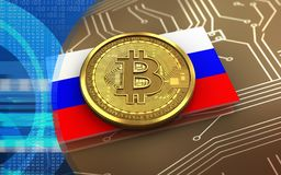 3d bitcoin Rosja flaga ilustracja wektor