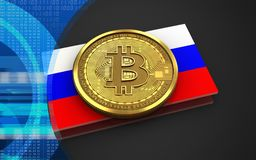 3d bitcoin Russia flag. 3d illustration of bitcoin over black background with Russia flag Stock Photography
