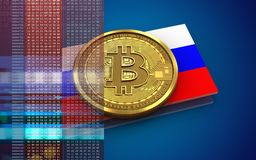 3d bitcoin Russia flag. 3d illustration of bitcoin over blue background with Russia flag Royalty Free Stock Image