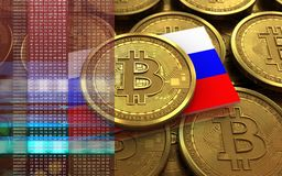 3d bitcoin Russia flag. 3d illustration of bitcoin over coins stacks background with Russia flag Stock Photo