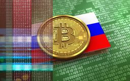 3d bitcoin Russia flag. 3d illustration of bitcoin over green binary background with Russia flag Stock Photos
