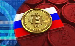 3d bitcoin Russia flag Stock Image